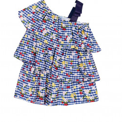 PATTERNED PLAYSUIT WITH RUFFLES FOR GIRL