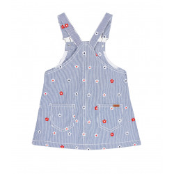 DENIM DUNGAREE SKIRT WITH EMBROIDERY FOR GIRL