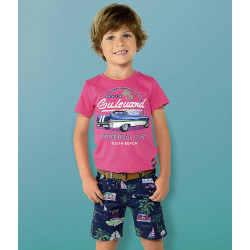 PATTERNED BERMUDA SHORTS WITH BELT FOR BOY