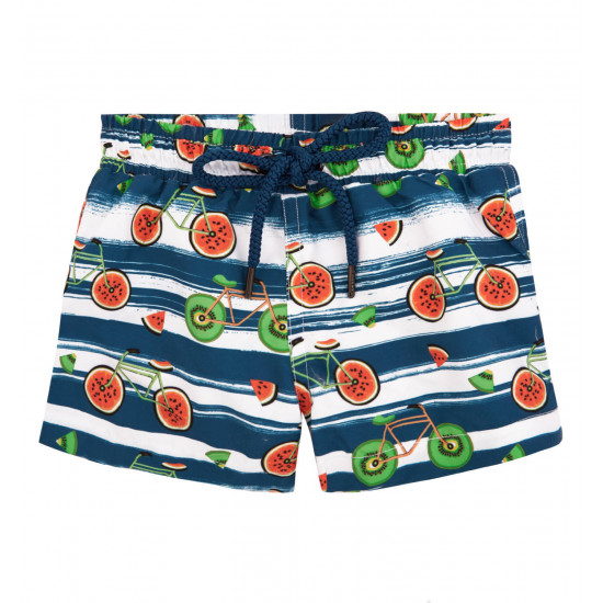 BABY BOYS BLUE AND WHITE FRUIT BIKES SWIM SHORT