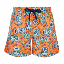 BOYS ORANGE MEXICAN SKULL SWIM SHORT