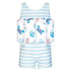BOYS BLUE UNDER THE SEA PATCHWORK FLOATSUIT