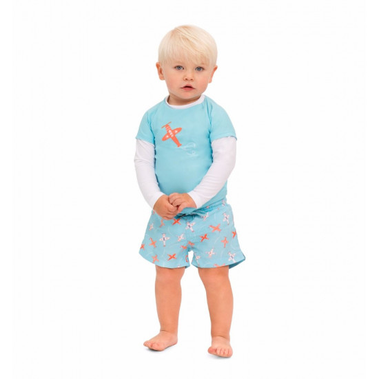 BABY BOYS BLUE AIRPLANE SWIM SHORT