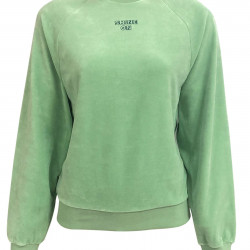 GREEN VELVET SWEATSHIRT FOR WOMEN