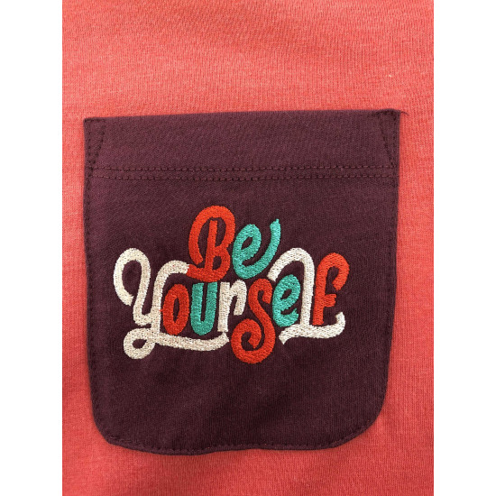 "COLORFUL UNISEX T-SHIRT WITH ""BE YOURSELF"" EMBROIDERED"