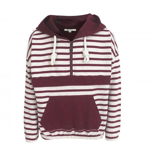 BORDEAUX SWEATSHIRT WITH STRIPES