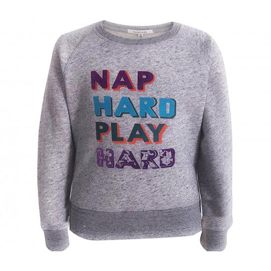 "UNISEX SWEATSHIRT WITH ""NAP HARD PLAY HARD"" PRINTED"