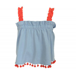 BLUE CROP TOP WITH POMPOM