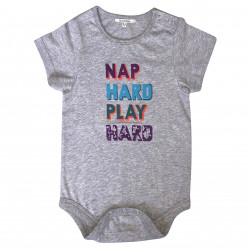 BABY BODYSUIT WITH NAP HARD PLAY HARD PRINTED