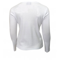WHITE BASIC T-SHIRT WITH CROISSANT EMBROIDERED