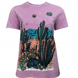 PURPLE T-SHIRT WITH CACTUS PRINTED