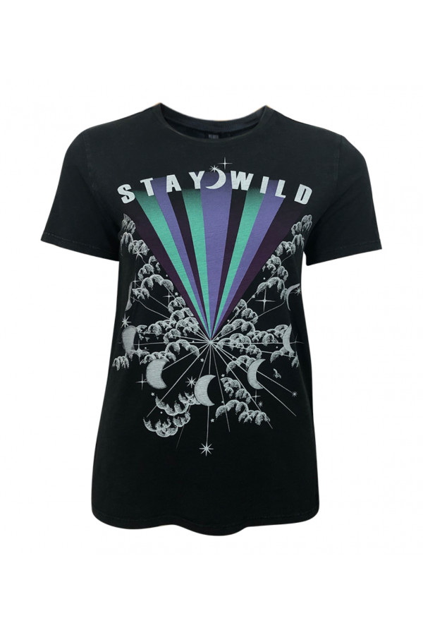 WOMEN T-SHIRT WITH STAY WILD PRINTED