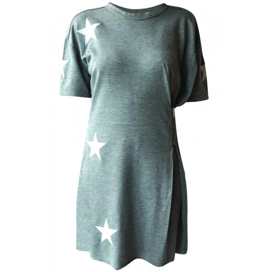 GREY DRESS WITH STAR EMBROIDERED