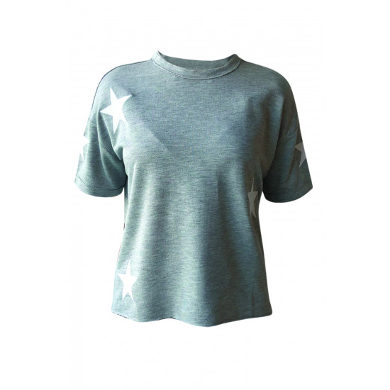 GREY WOMEN TSHIRT WITH STAR EMBROIDERED