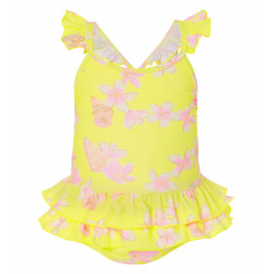 BABY GIRLS FRANGIPANI FRILL SWIMSUIT