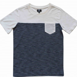 COLOR BLOCK TEE WHITE-NAVY