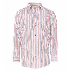 BOYS RED AND GREY STRIPE COTTON SHIRT