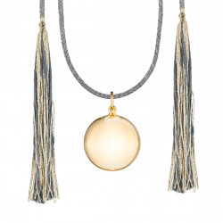 ACAPULCO MATERNITY NECKLACE YELLOW GOLD GREY CORD