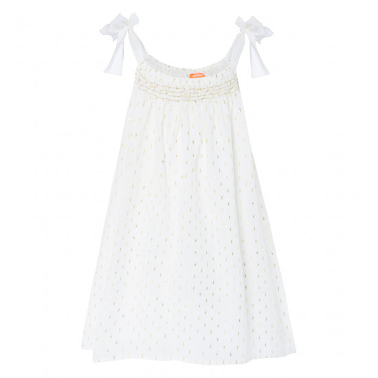 GIRLS GOLD DOT BIG TIE DRESS