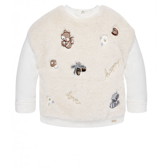 EMBROIDERED FAUX FUR SWEATSHIRT FOR BABY GIRL
