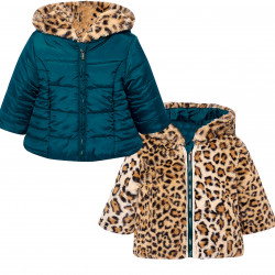 REVERSIBLE PLAIN AND PATTERNED COAT FOR BABY GIRL