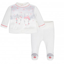 PENGUIN MOTIF SET WITH FOOTED TROUSERS FOR BABY GIRL