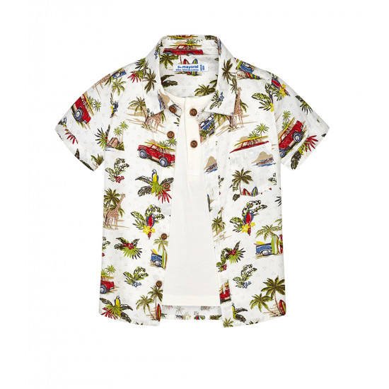 TWO-IN-ONE PATTERNED SHIRT WITH T-SHIRT FOR BABY BOY