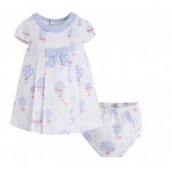 TWO PIECE BABY GIRL DRESS WITH PRINTED PIQUE