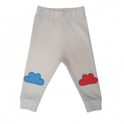 ECRU CLOUD EMBROIDERED PANTS FOR BABY