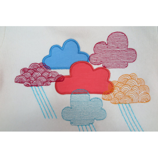 ECRU CLOUD EMBROIDERED SWEAT FOR BABY