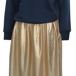 GOLD SKIRT-NAVY SWEATSHIRT COMBIN FOR WOMEN