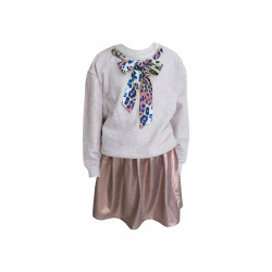 ROSE GOLD SKIRT-ECRU SWEATSHIRT FOR GIRLS