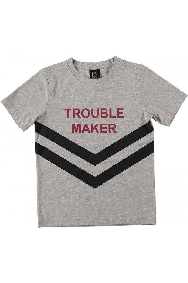 TROUBLE MAKER TEE / GREY MEL