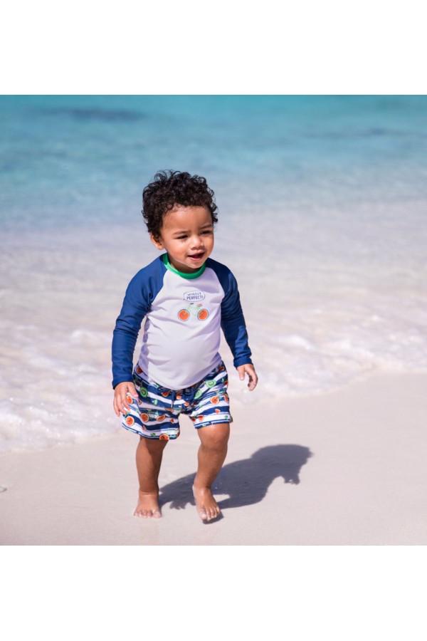 BABY BOYS BLUE AND WHITE FRUIT BIKES SWIM SHORT