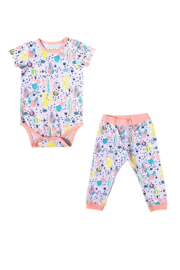 BABY SET WITH CACTUS PRINTED