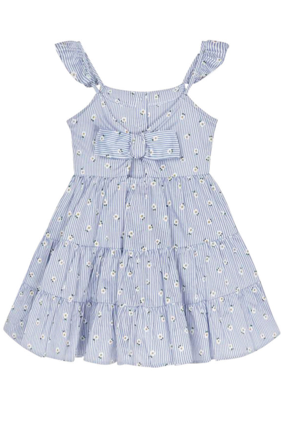 STRIPED DRESS WITH DAISY PRINT FOR GIRLA